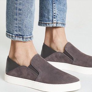 Vince Garvey Sneaker Suede Slip On Pewter Grey
